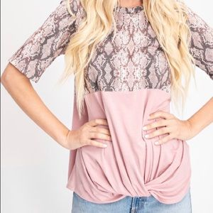 Snake Print and Pale Pink T Shirt